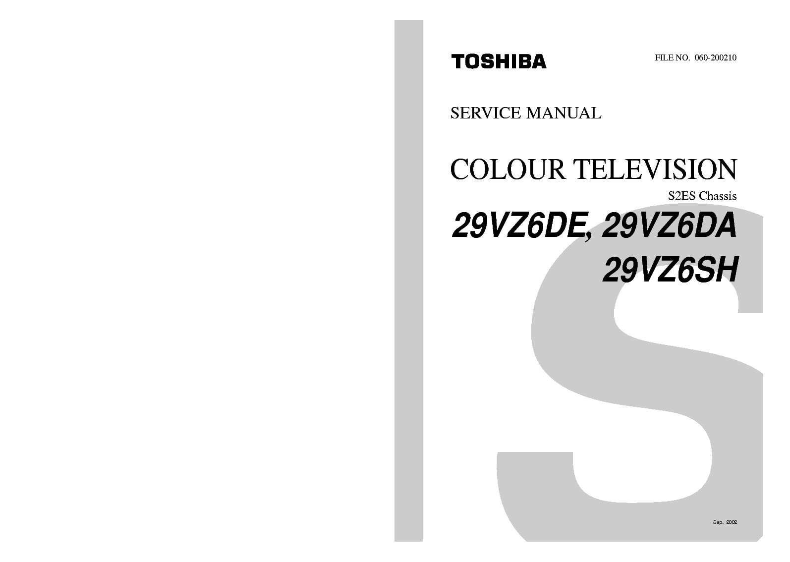 Toshiba 29vz6de 29vz6da 29vz6sh Chassis S2es Service Manual Download Schematics Eeprom Repair