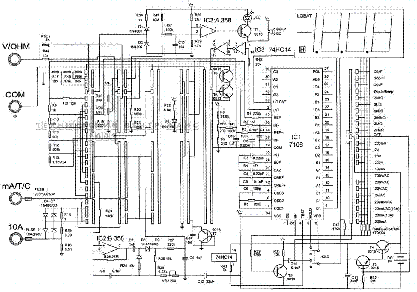 Multimeter Ut60a Sch Service Manual Free Download