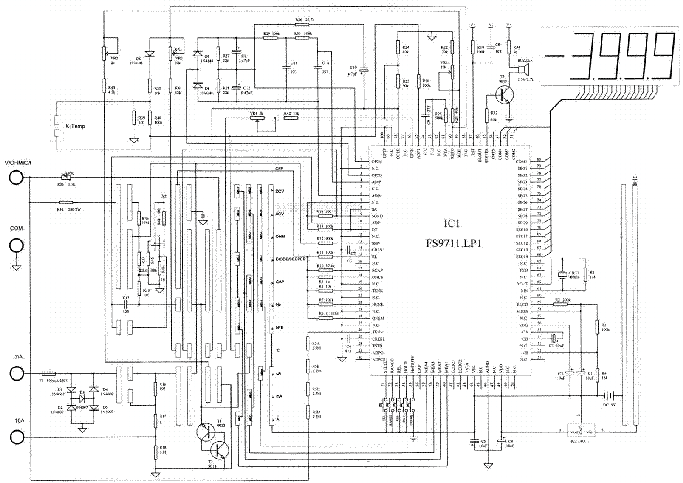 Multimeter Vc97 Sch Service Manual Download Schematics