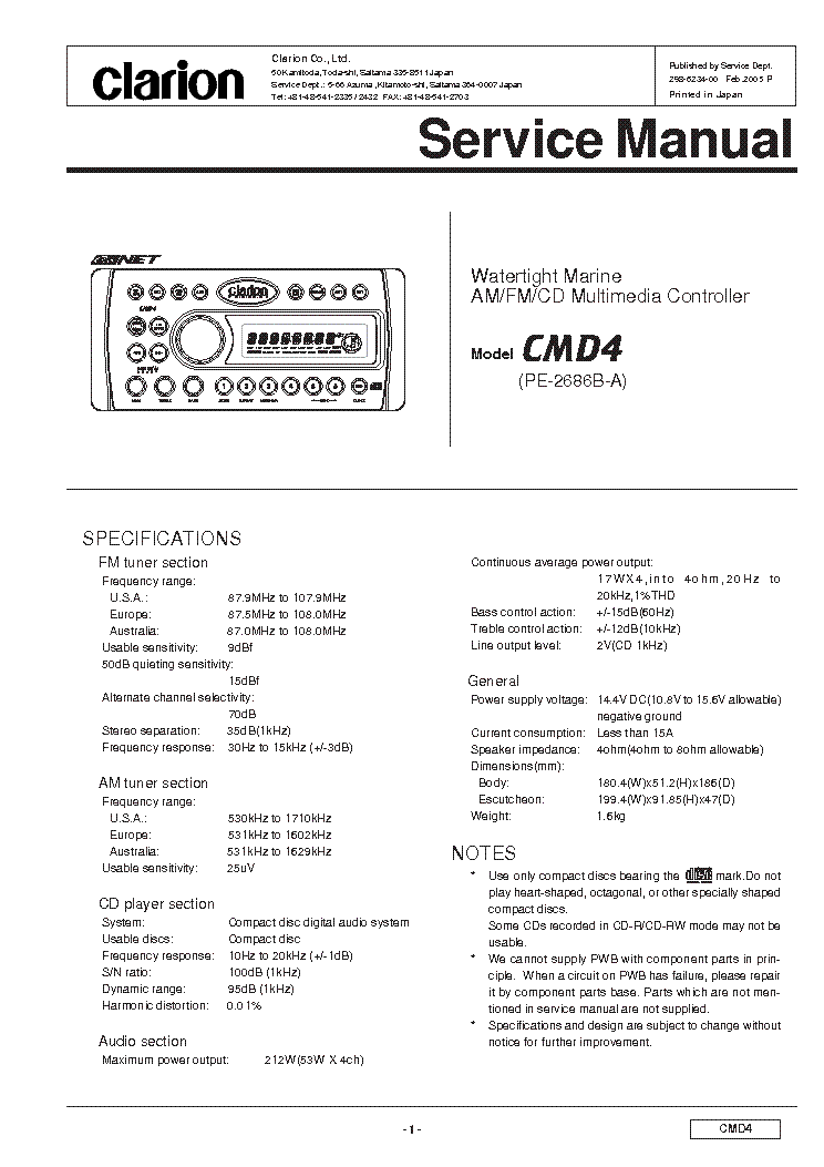 clarion_cmd4.pdf_1?resize\\\=665%2C941 clarion radio wiring diagram & clarion double din diagrams clarion cd player wiring diagram at panicattacktreatment.co
