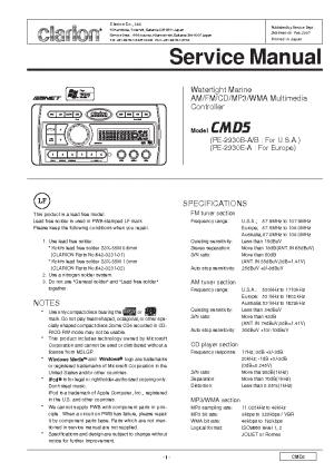 CLARION CMD5 Service Manual download, schematics, eeprom