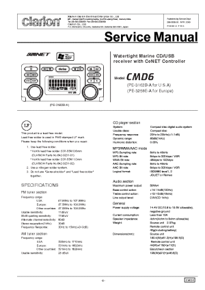 CLARION CMD6 Service Manual download, schematics, eeprom