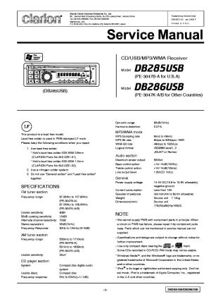 CLARION PI2517UA Service Manual download, schematics
