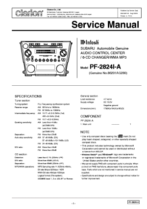 CLARION PF2824IA Service Manual download, schematics