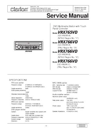 CLARION VRX765VD 766VD Service Manual download, schematics