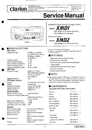 CLARION XMD1 XMD2 SM Service Manual download, schematics, eeprom, repair info for electronics
