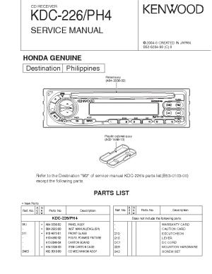 KENWOOD KDC226 PH4 Service Manual download, schematics