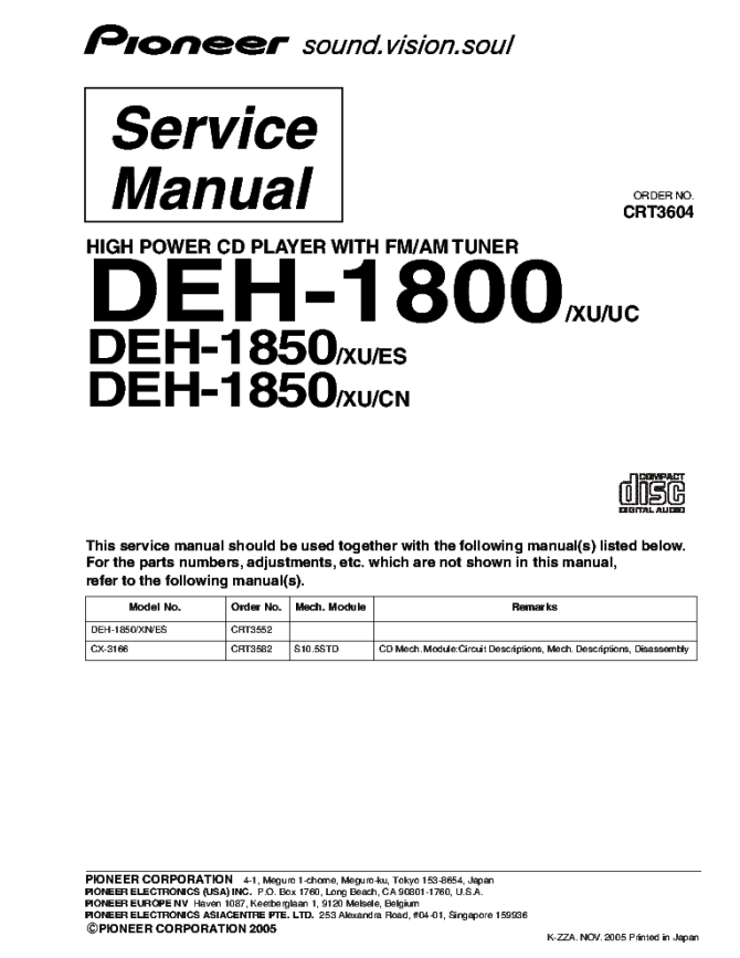 pioneer deh1800 deh1850 crt3604 supplement service manual