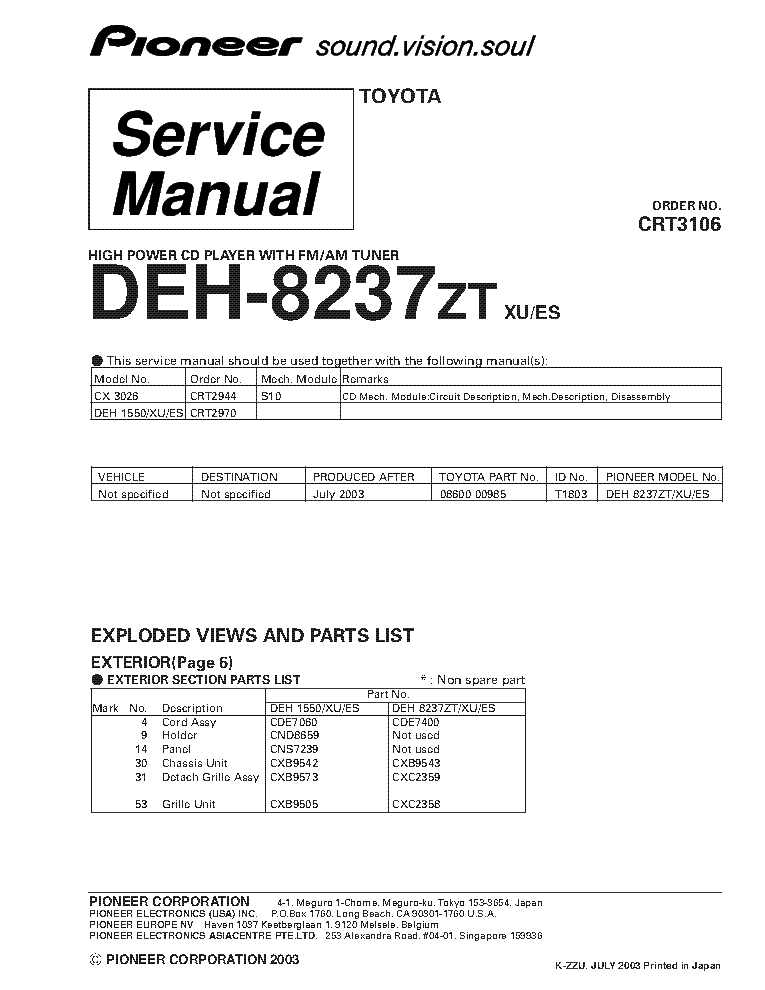 Wiring diagram for pioneer deh 7300bt