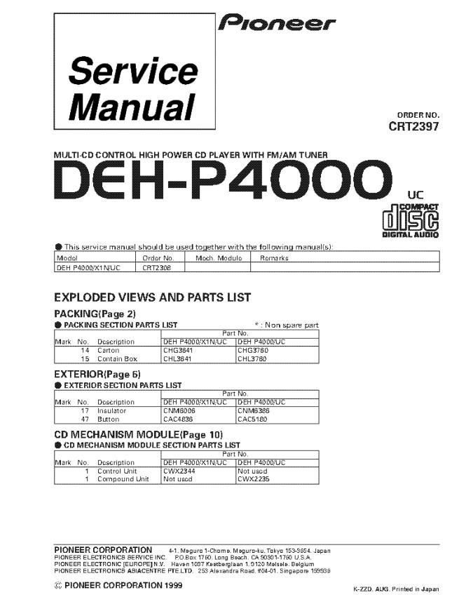 Pioneer Deh P2000 Wiring Diagram Wiring Diagram – Pioneer Deh P2000 Wiring Diagram