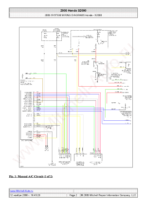 HONDA S2000 2005 WIRING DIAGRAMS SCH Service Manual