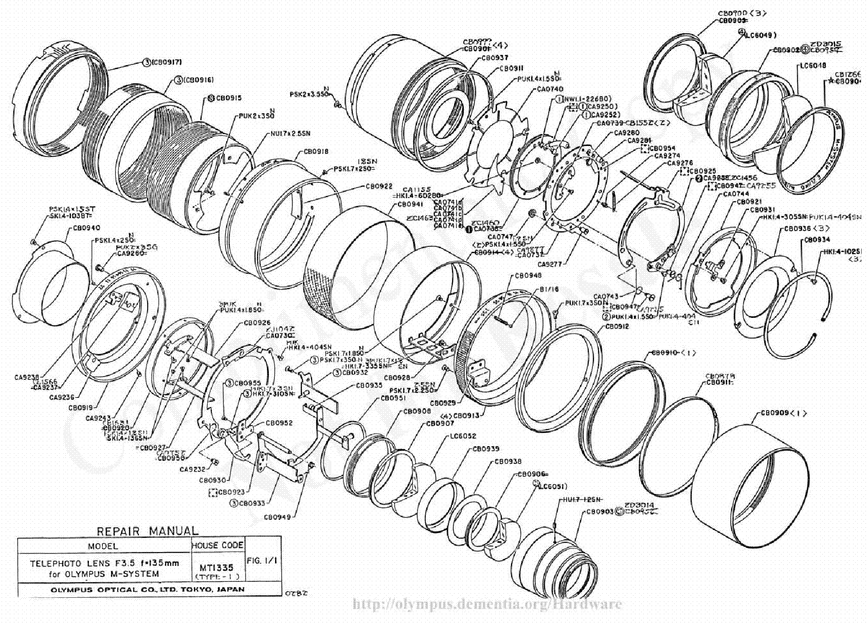 Olympus 20mm 38mm F3 5 Macro Exploded Parts Diagram