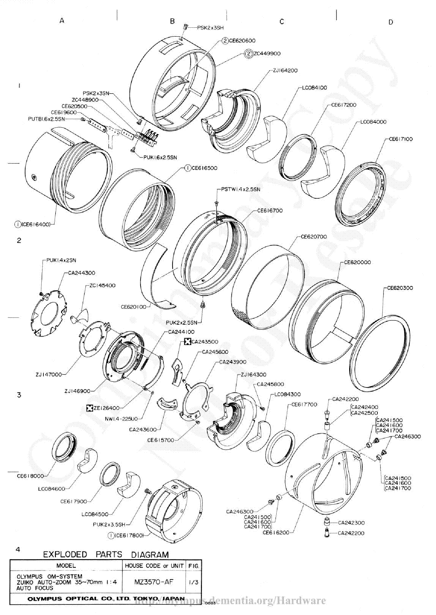 Olympus 35 70mm F4 Af Exploded Parts Diagram Service