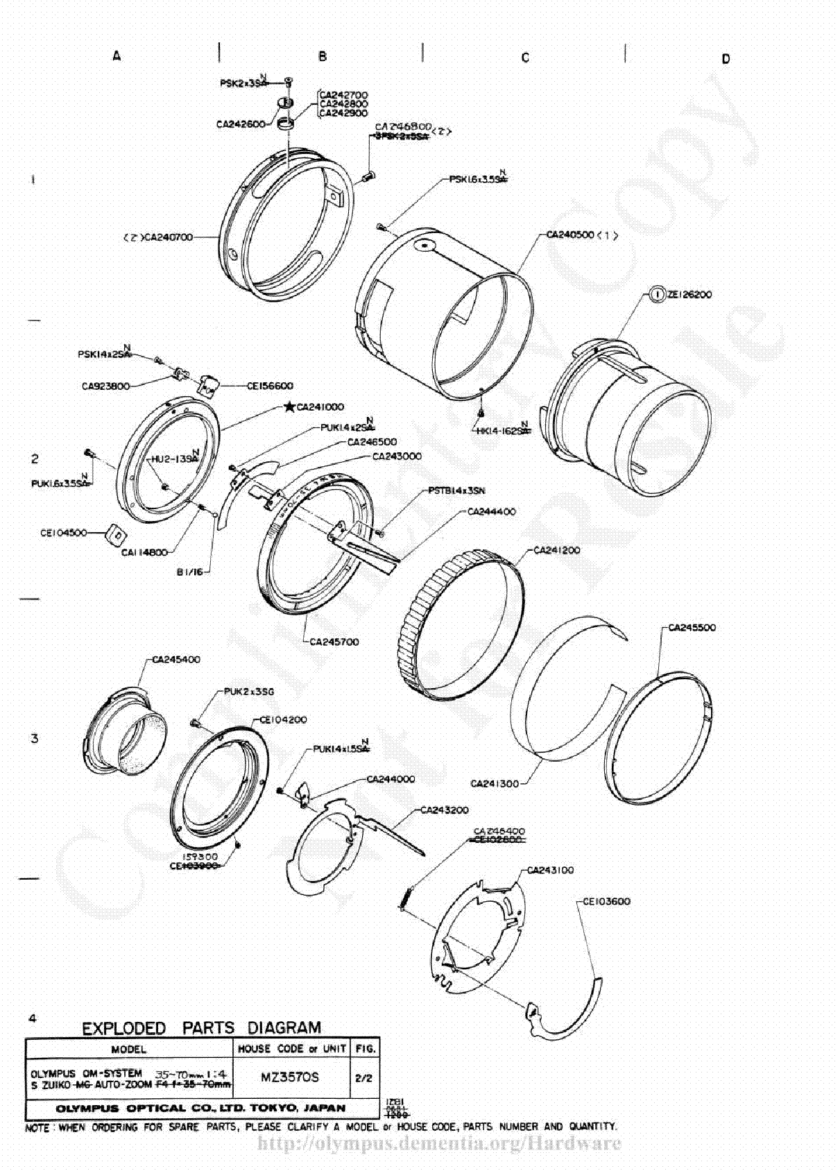 Olympus 35 70mm F4 Exploded Parts Diagram Service Manual