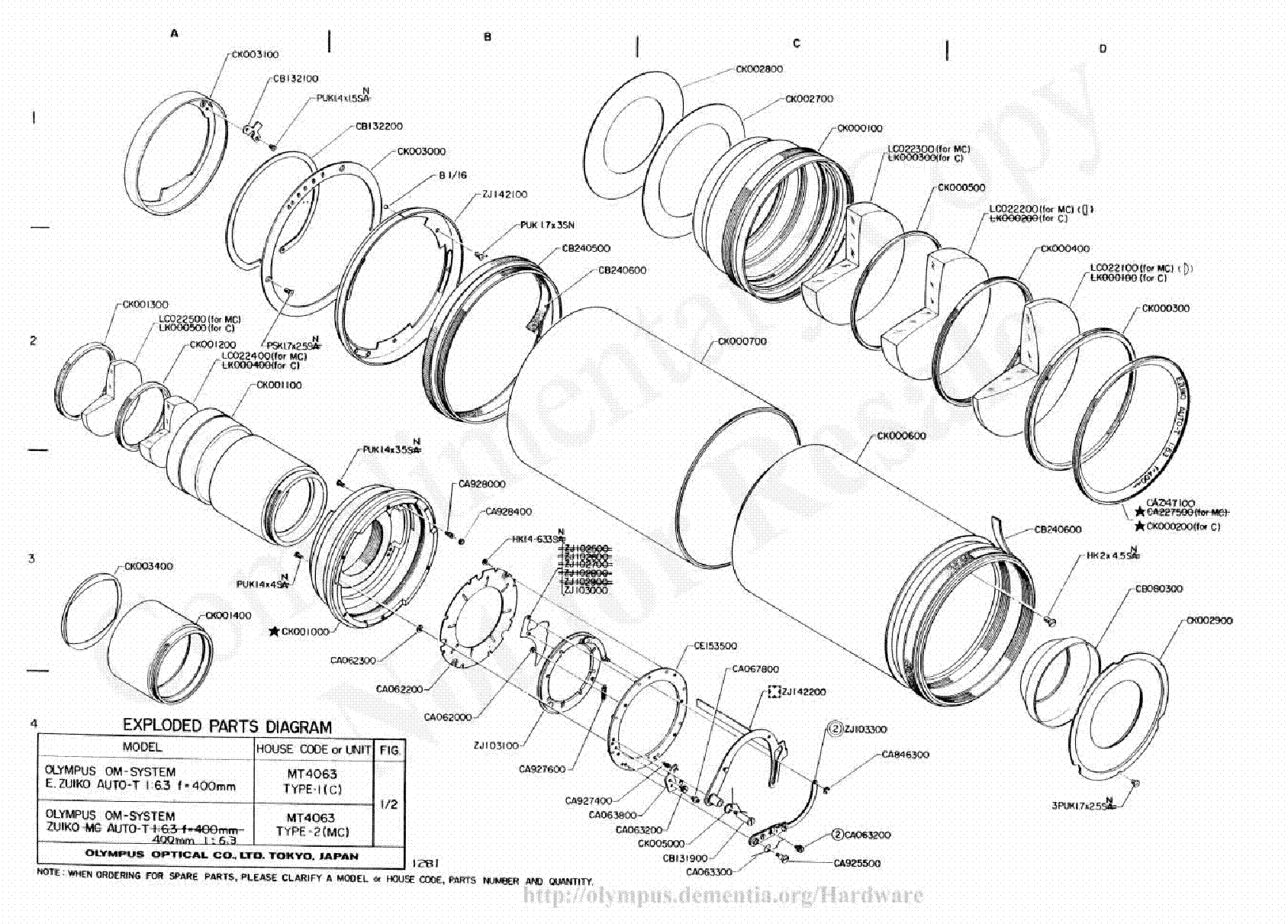 Olympus 400mm F6 3 Exploded Parts Diagram Service Manual Download Schematics Eeprom Repair