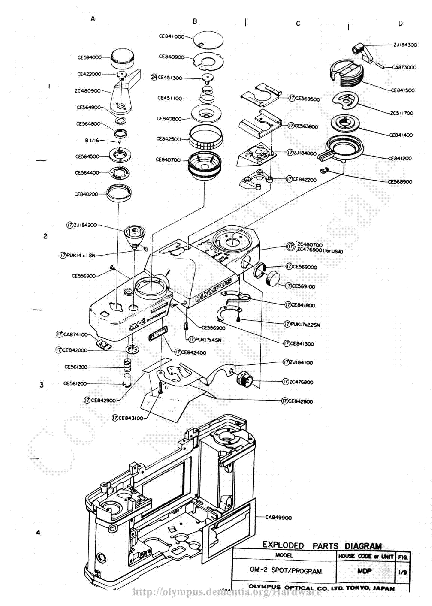 Olympus Om 2s Exploded Parts Diagram Service Manual