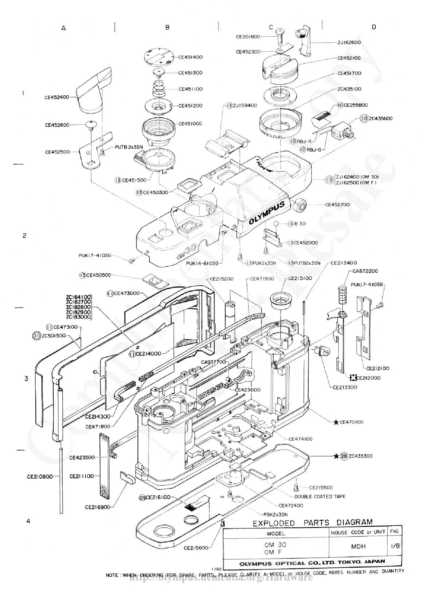 Olympus Om 30 Exploded Parts Diagram Service Manual
