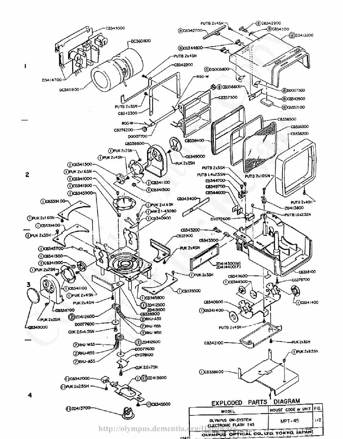 Olympus T 45 Exploded Parts Diagram Service Manual