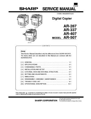 SHARP AR287 AR337 AR407 AR507 Service Manual download