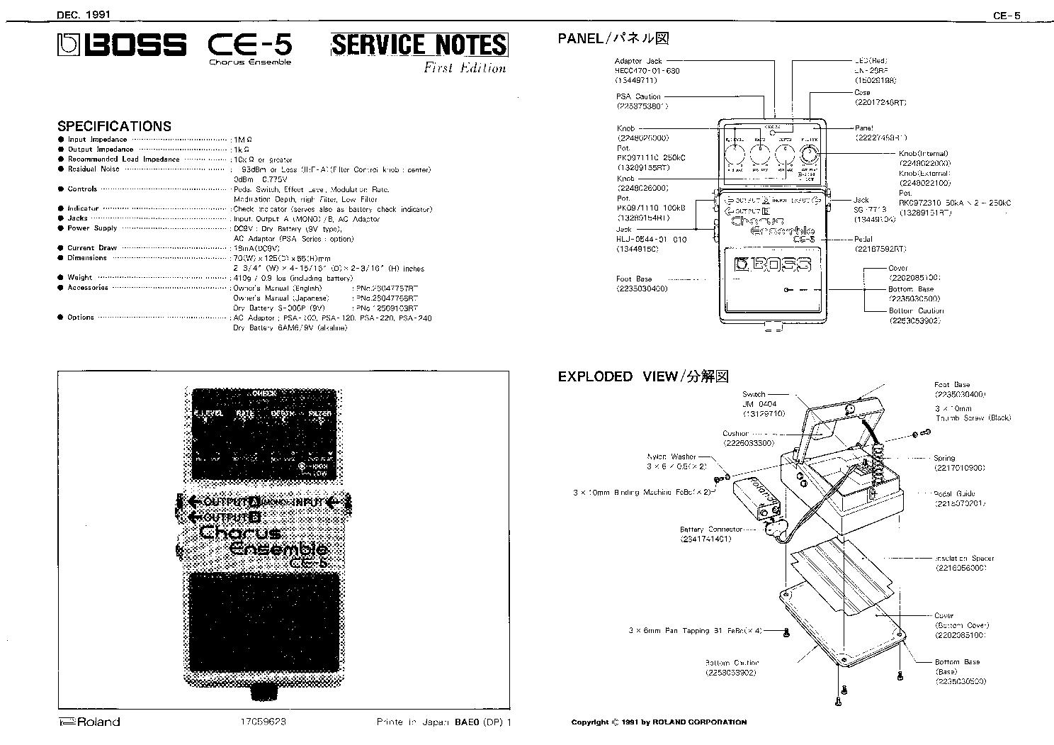 Boss Ce 5 Service Manual Download Schematics Eeprom