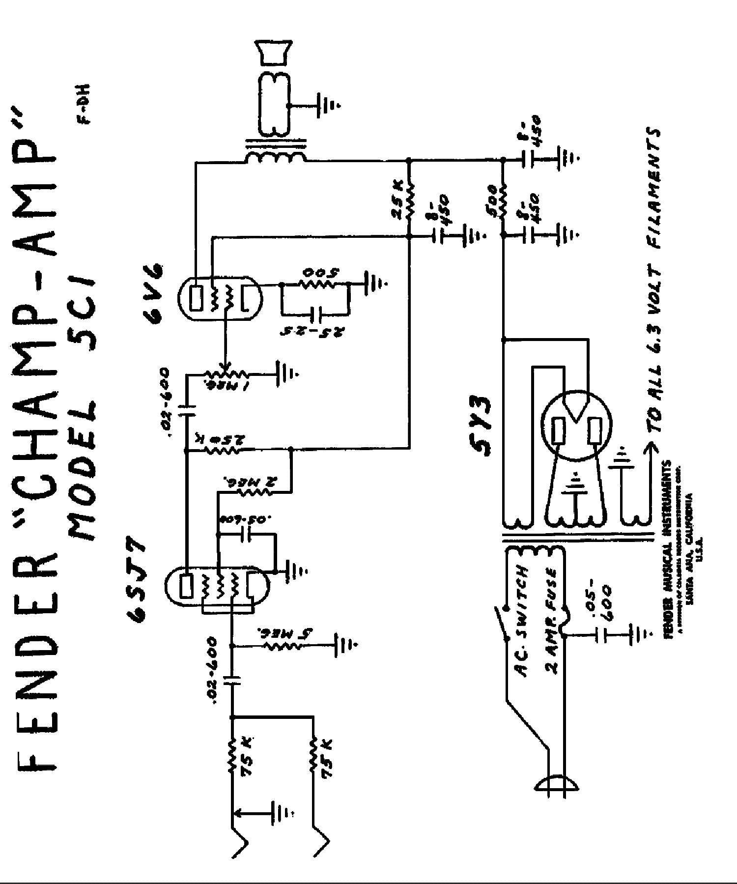 Fender Champion 600 Schematic Amplifier | Wiring Diagram Database