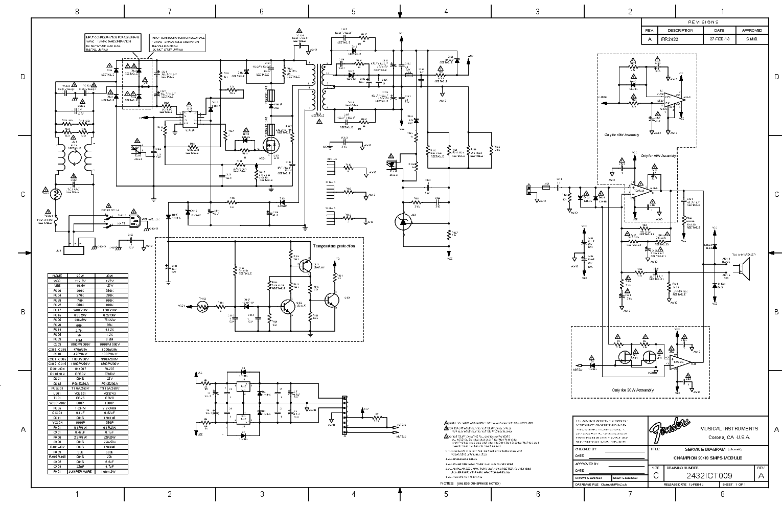 Fender Champion 20 40 Guitar Amp Schematic Service Manual