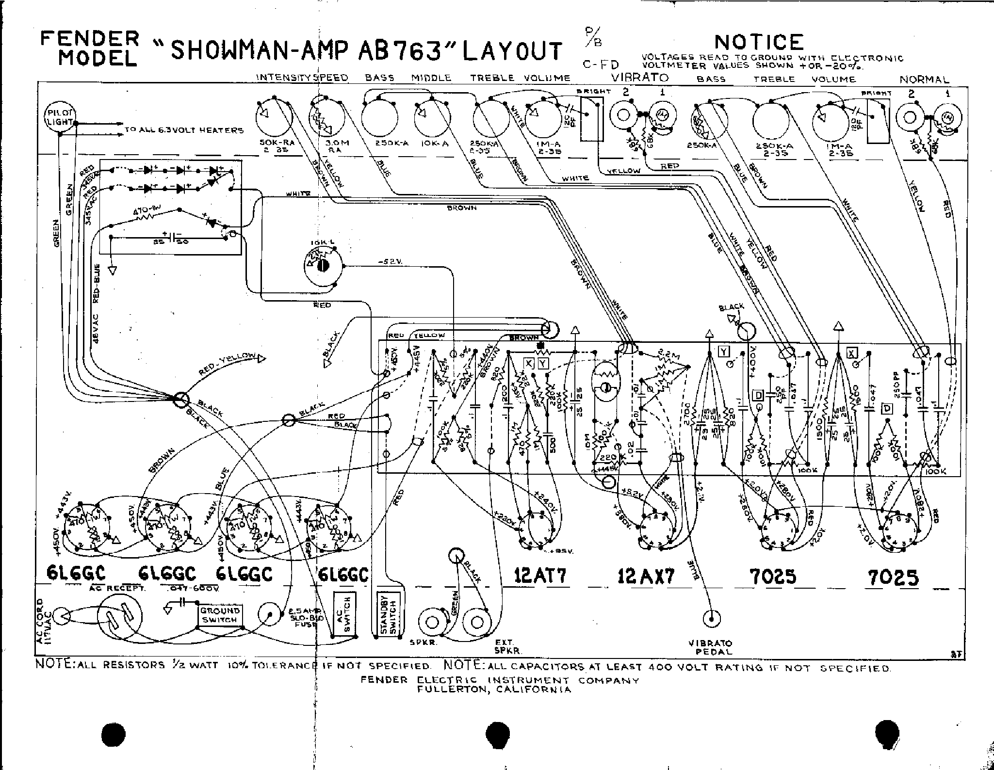 Fender Showman Ab763 Layout Service Manual Download