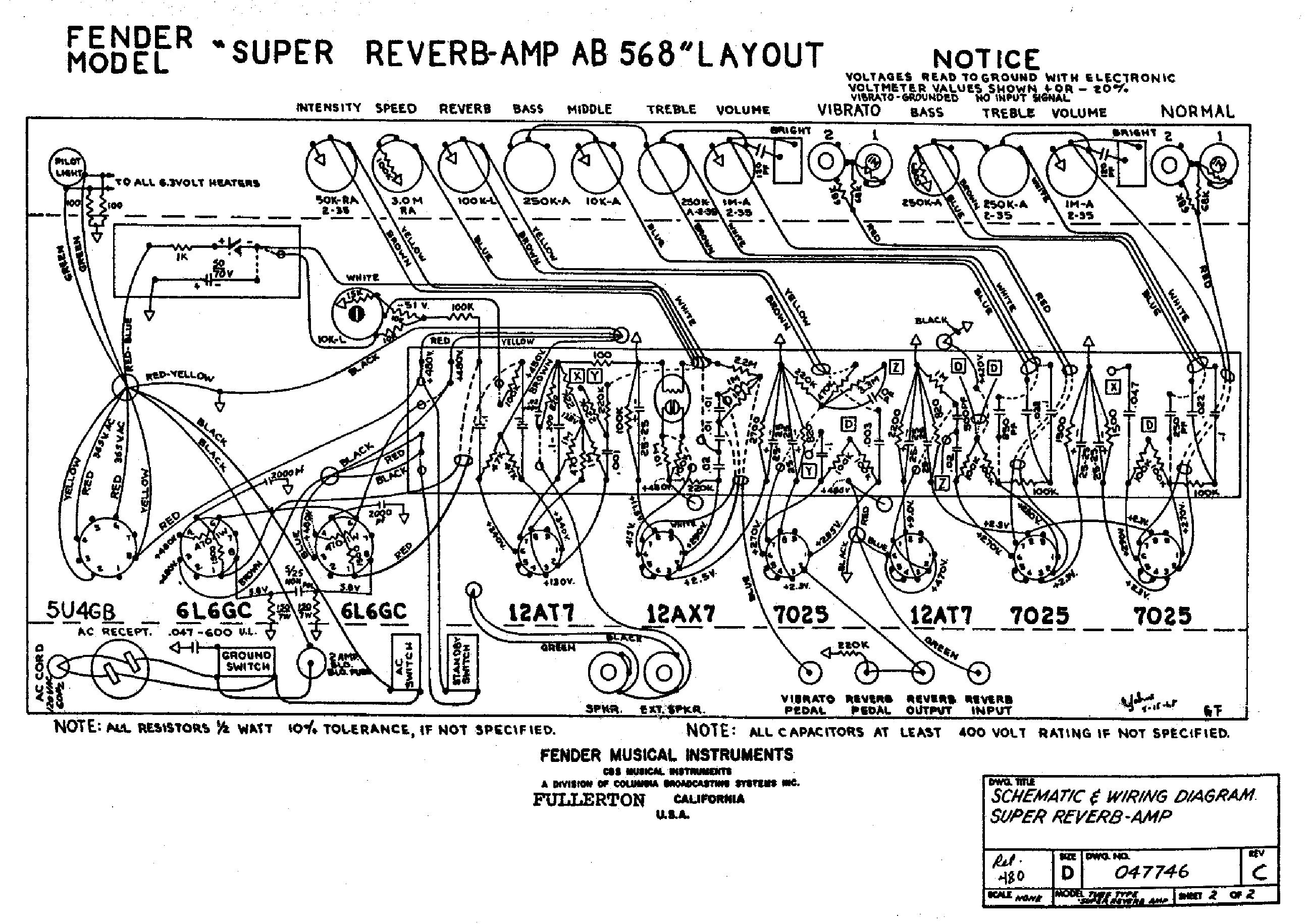 Fender Super Reverb Ab568 Sch Service Manual Download