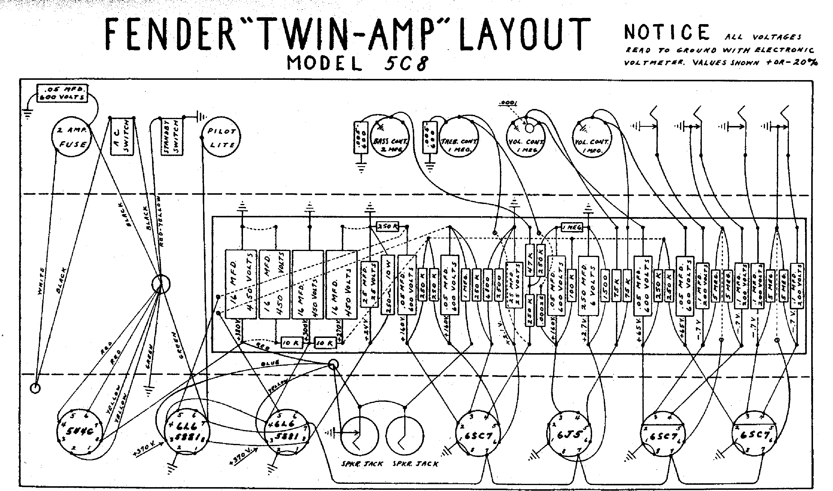 Fender Twin 5c8 Layout Service Manual Download Schematics