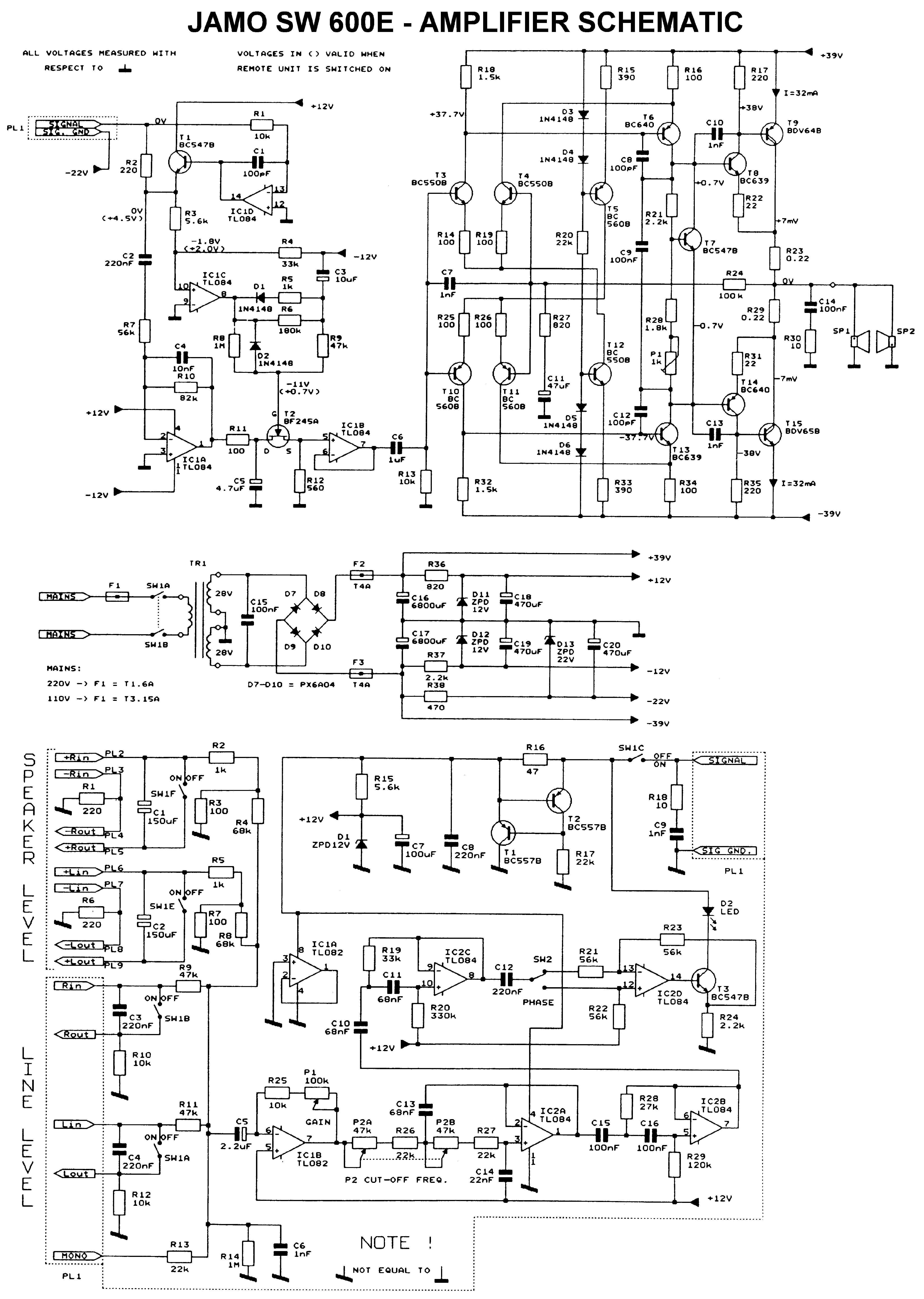 Jamo Sw 600e Sch Service Manual Download Schematics