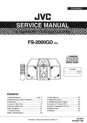 JVC FS2000GD Service Manual download, schematics, eeprom