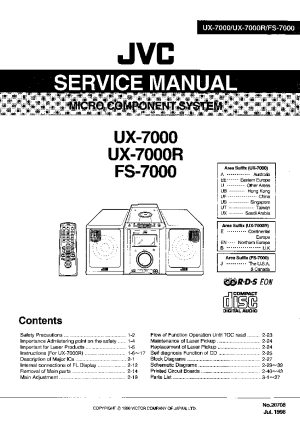 JVC UX7000 7000R FS7000 SM Service Manual download