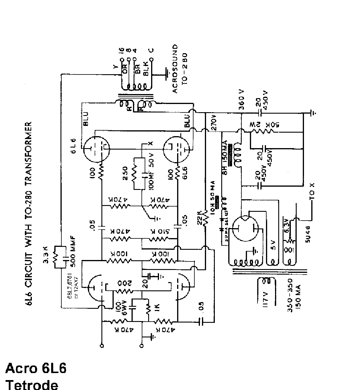 Acrosound 6l6 280 Sch Service Manual Download Schematics