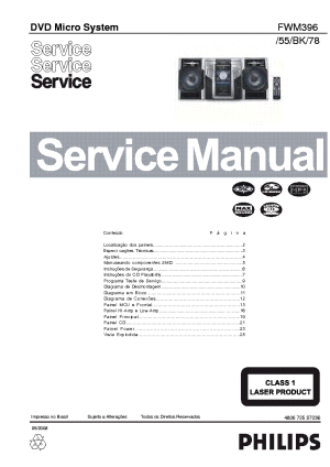 PHILIPS FWM396 55 BK 78 Service Manual download