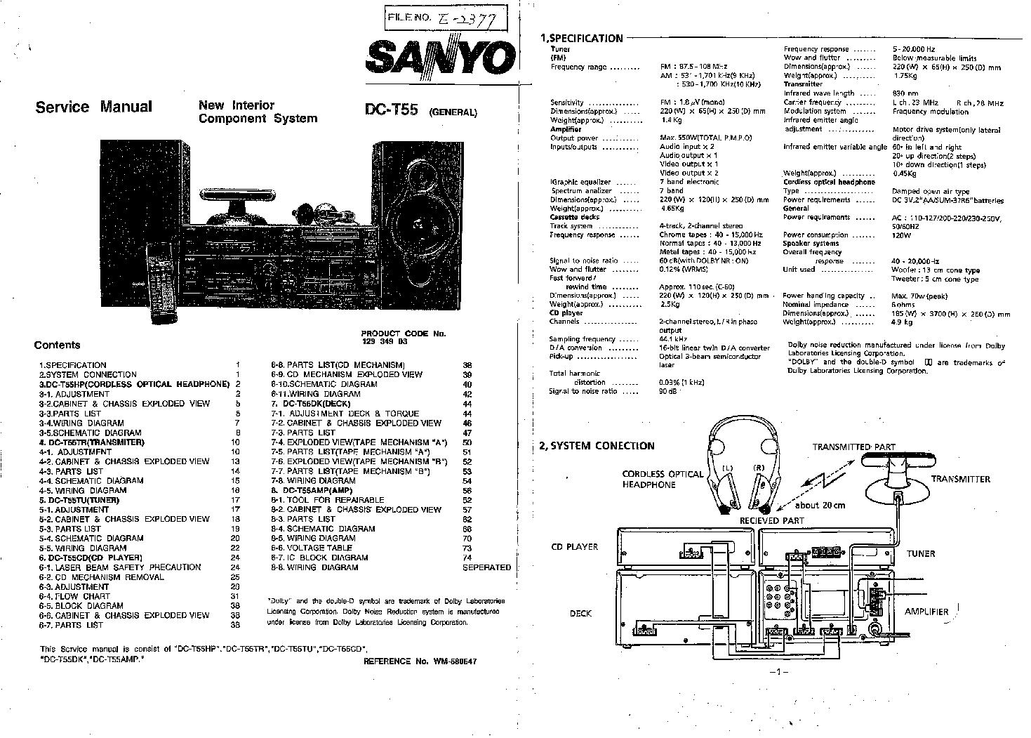 Sanyo Dc T55 Sm Service Manual Download Schematics