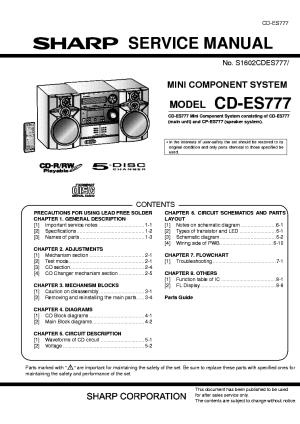 SHARP CDES777 Service Manual download, schematics, eeprom