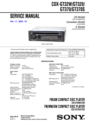 SONY CDXGT320 GT32W GT370 GT370S Service Manual download