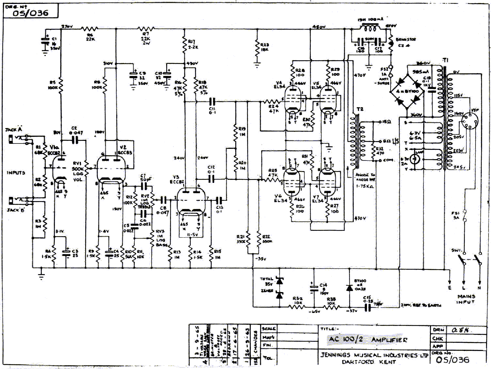 Vox Ac15 Mk Ii Sch Service Manual Download Schematics