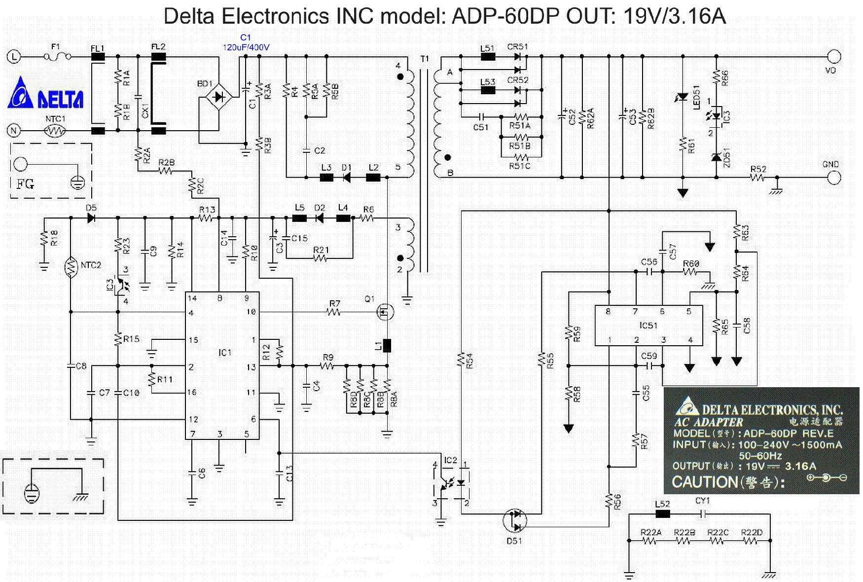 Delta Adp 60dp Psu Sch Service Manual Download Schematics