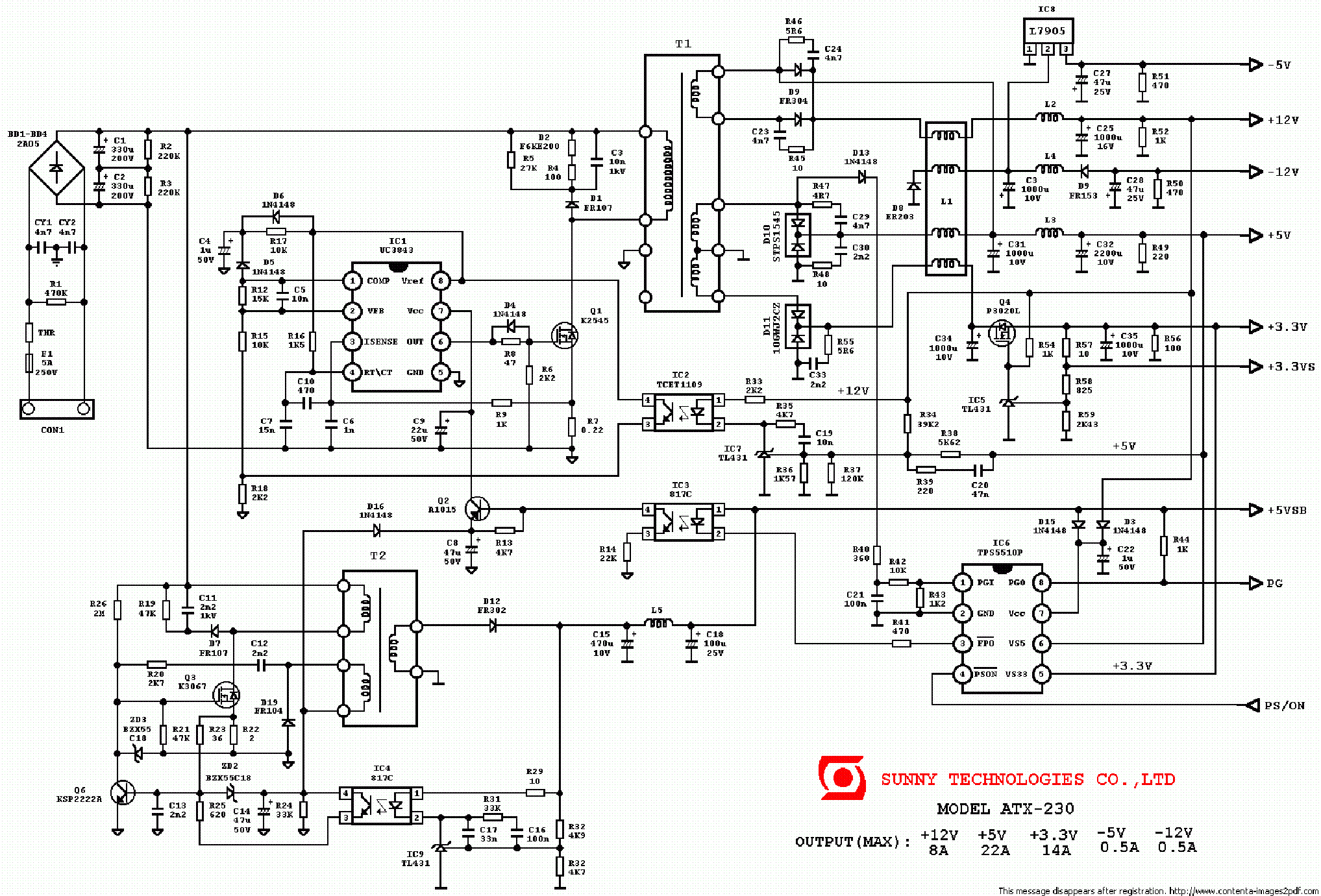 Atx Power Supply Schematic Diagram Download
