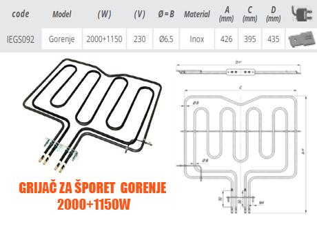 Grijač grijači šporeta štednjaka Gorenje 2000+1150W Elektro Vukojevic