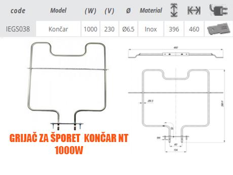 Grijač/grijači šporeta/štednjaka Končar NT 1000W