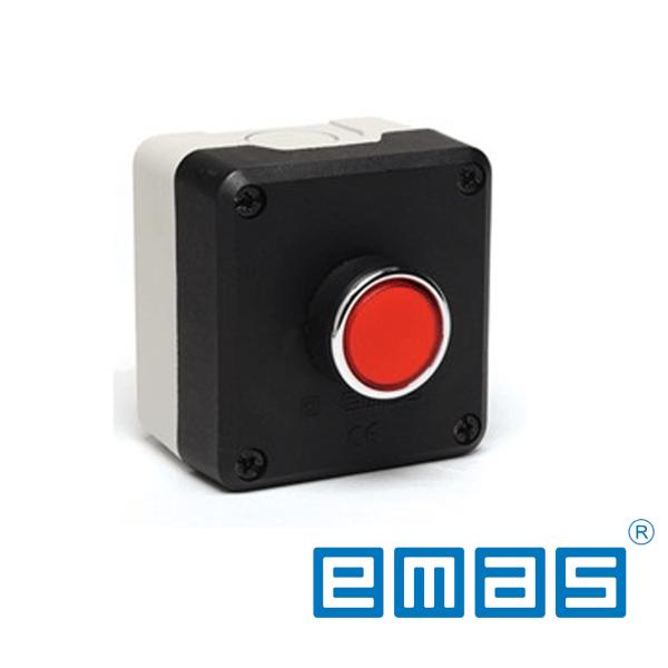 Taster crveni sa 1 NC kontaktom, fi22mm, IP50 EMAS Elektro Vukojevic