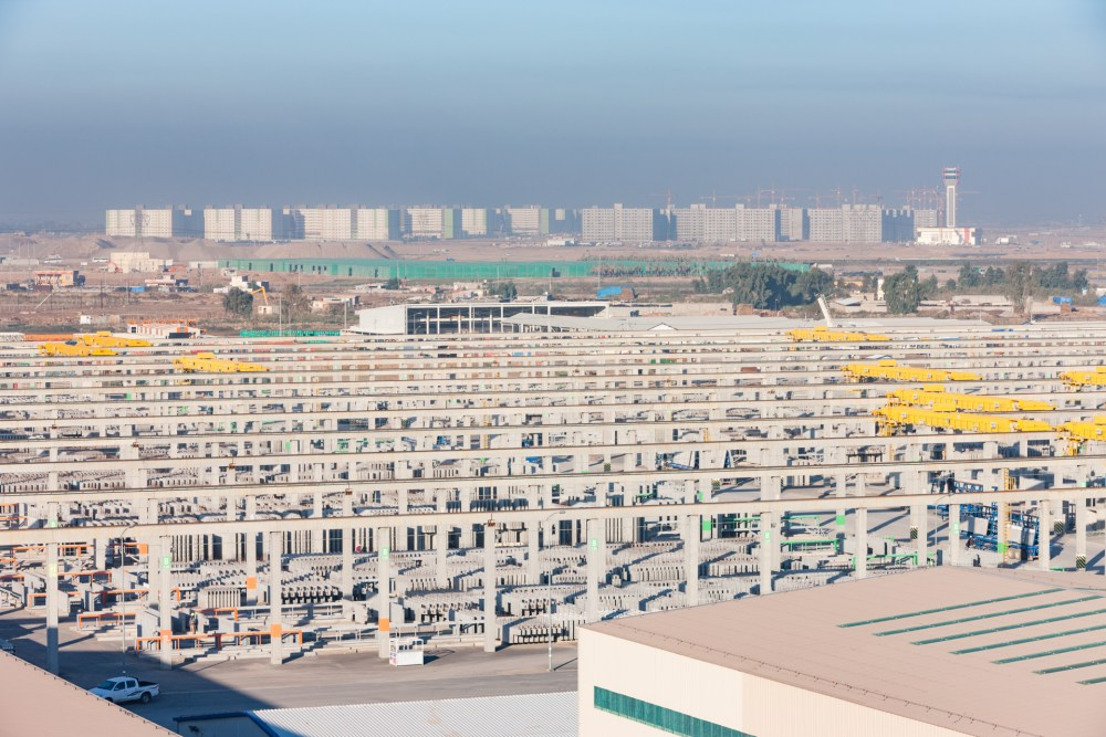 Precast products storage at Hanwha E&C precast plant in Iraq