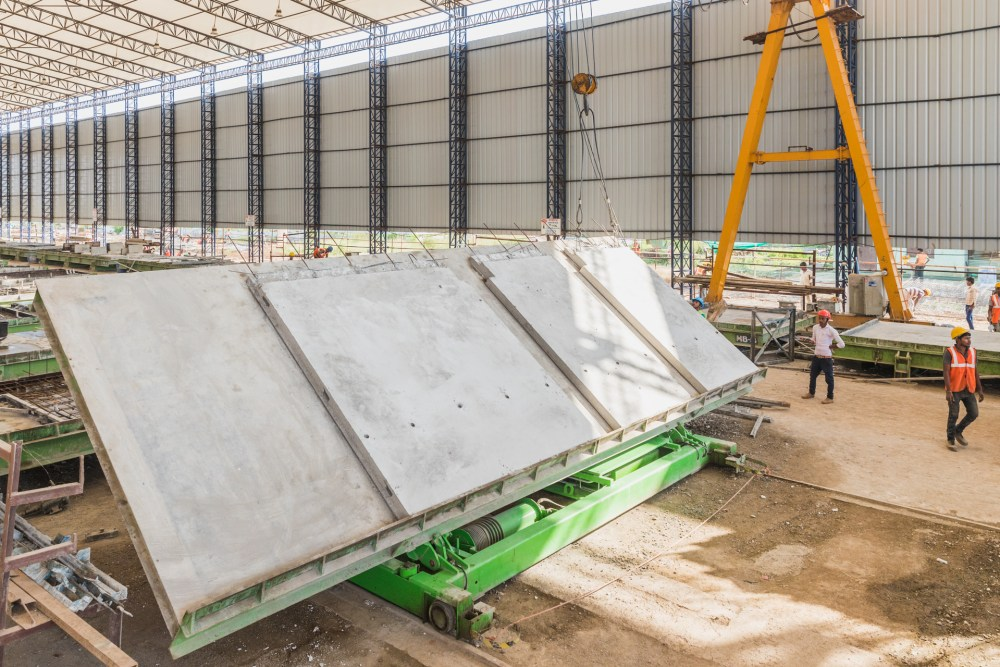 Production on-going at a precast wall plant in India