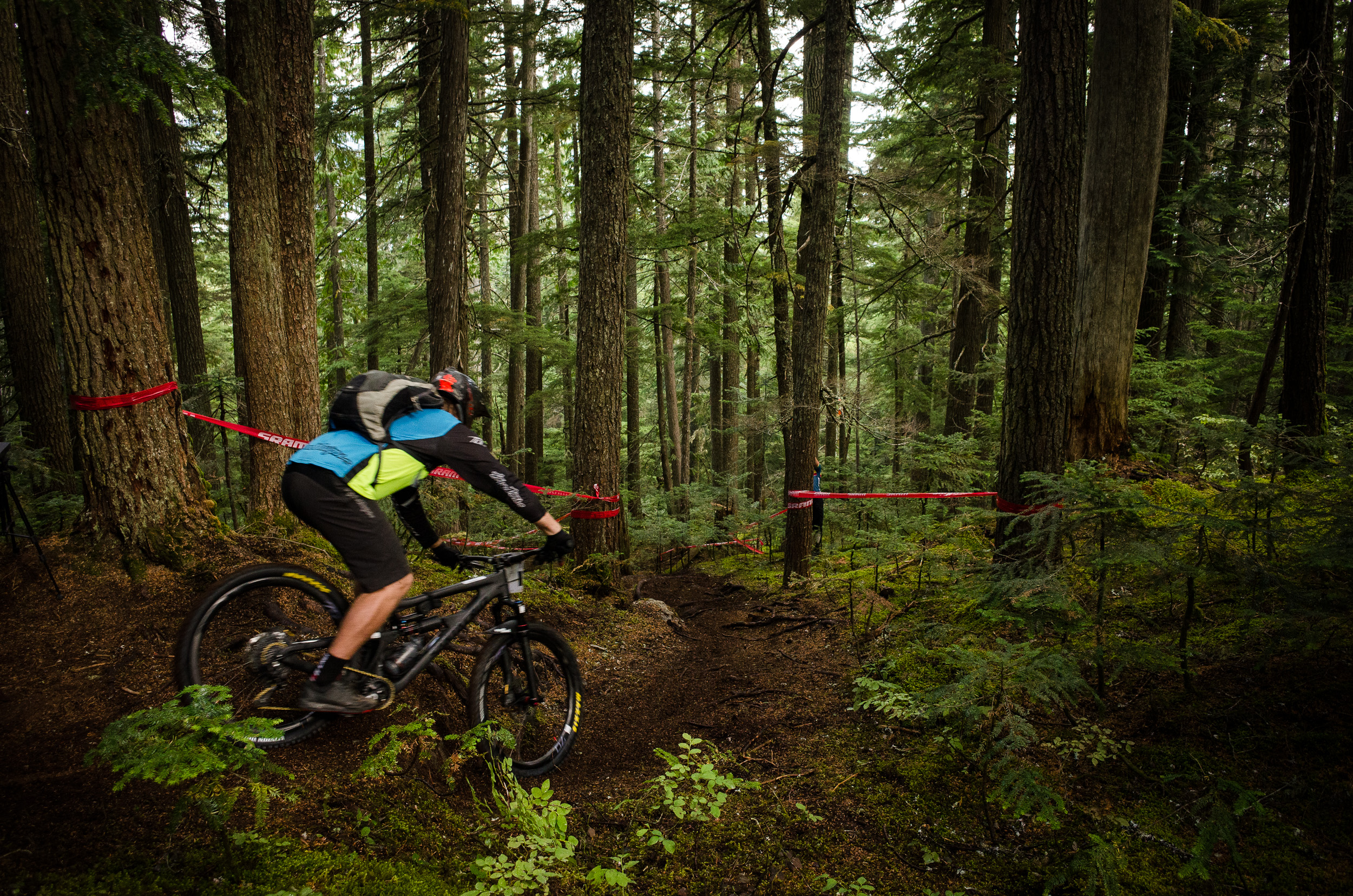 A racer starts Stage 1 of the 2015 Enduro World Series at Whistler in British Columbia.