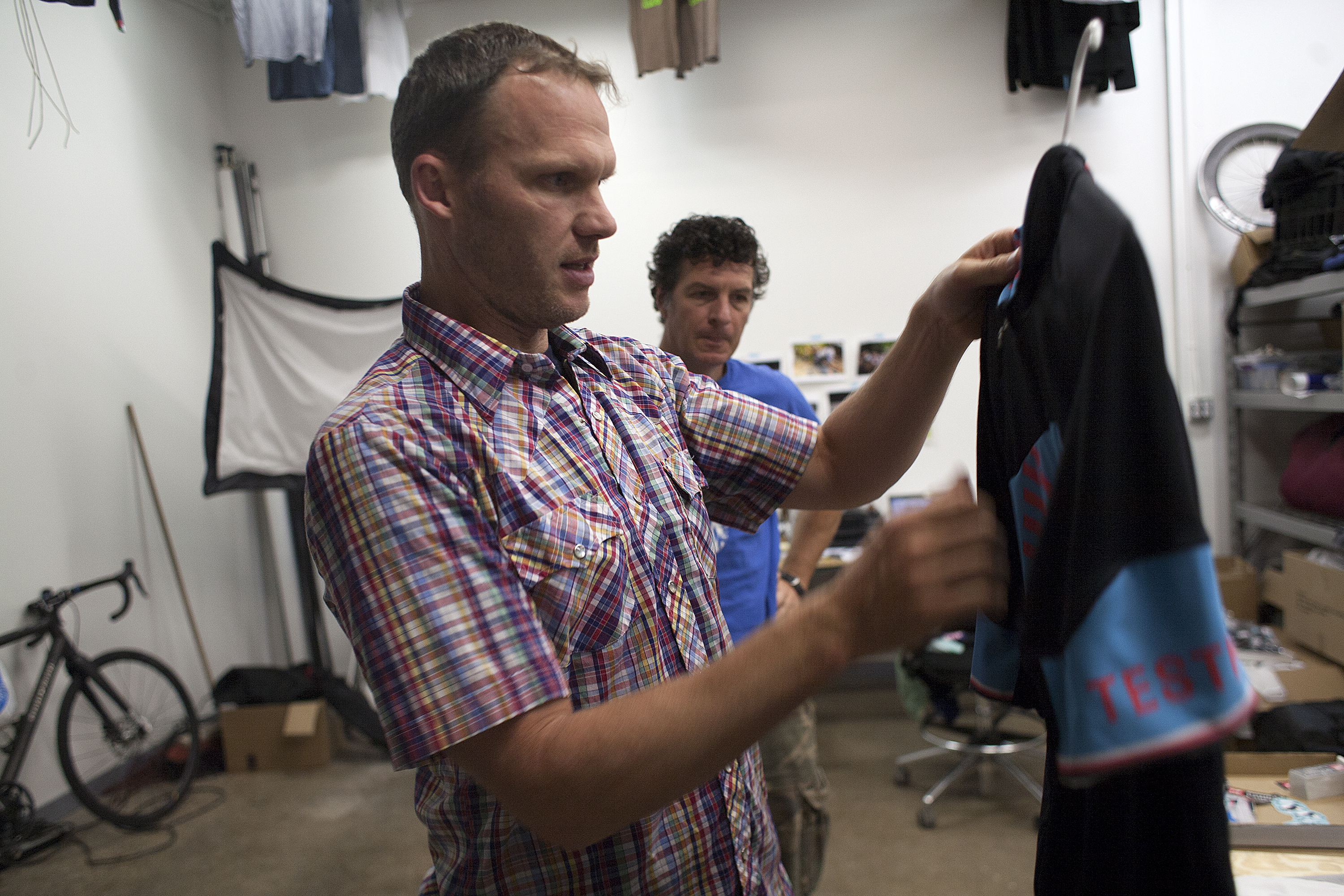 Founder and product designer Paul Krumich, foreground, with team member James Tainter run Donkey Label out of small space in Minneapolis. (Photo:David Pierini)