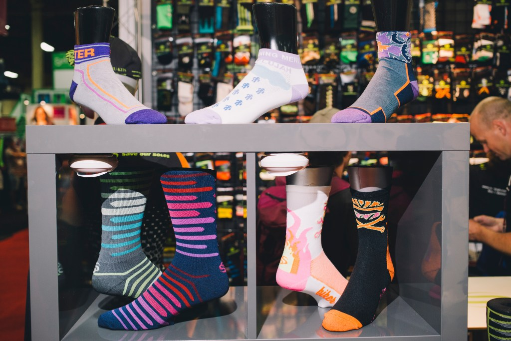 Just a small glimpse of the hundreds of different kinds of socks on the Interbike floor. These are from the SockGuy. Photo: Stephen Lam/Element.ly