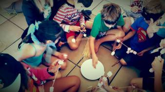 The challenge: to build the highest tower possible using kebab sticks and marshmallows...