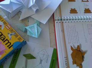 Some indoor fun included origami...